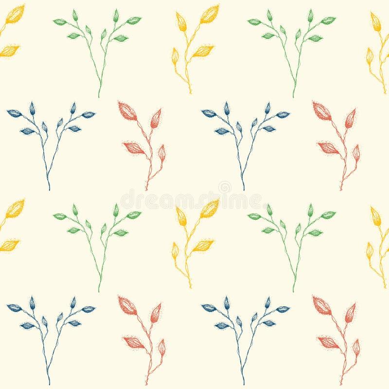 Gevoelig hand getrokken wijnoogst geïnspireerd gebladerte in rood, groen en blauw Naadloos geometrisch vectorpatroon op room vector illustratie