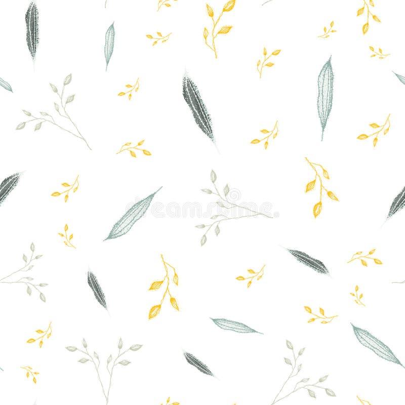 Gevoelig hand getrokken zilveren, grijs gebladerte met accent gouden kleur Naadloos vectorpatroon op witte achtergrond Groot voor stock illustratie