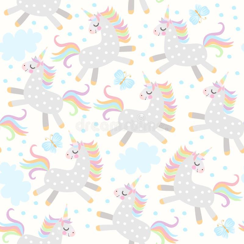 Gevoelig naadloos patroon met lichtgrijze kleine eenhoorns die in de hemel, de blauwe vlinders en de wolken stoeien Vector illust stock illustratie