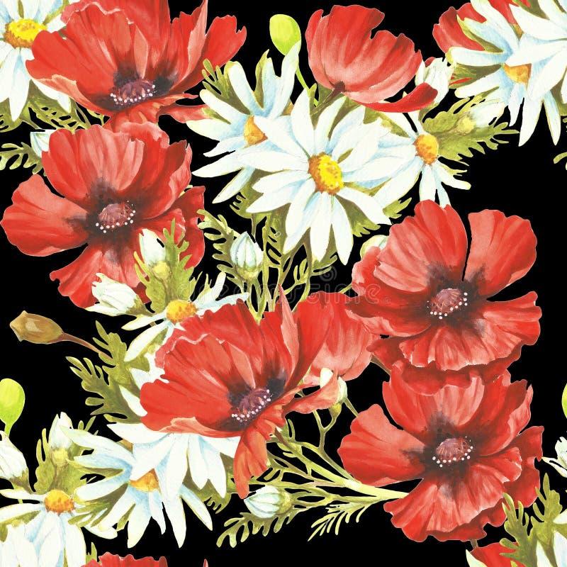 Gevoelig naadloos patroon met papavers en kamilles watercolor vector illustratie