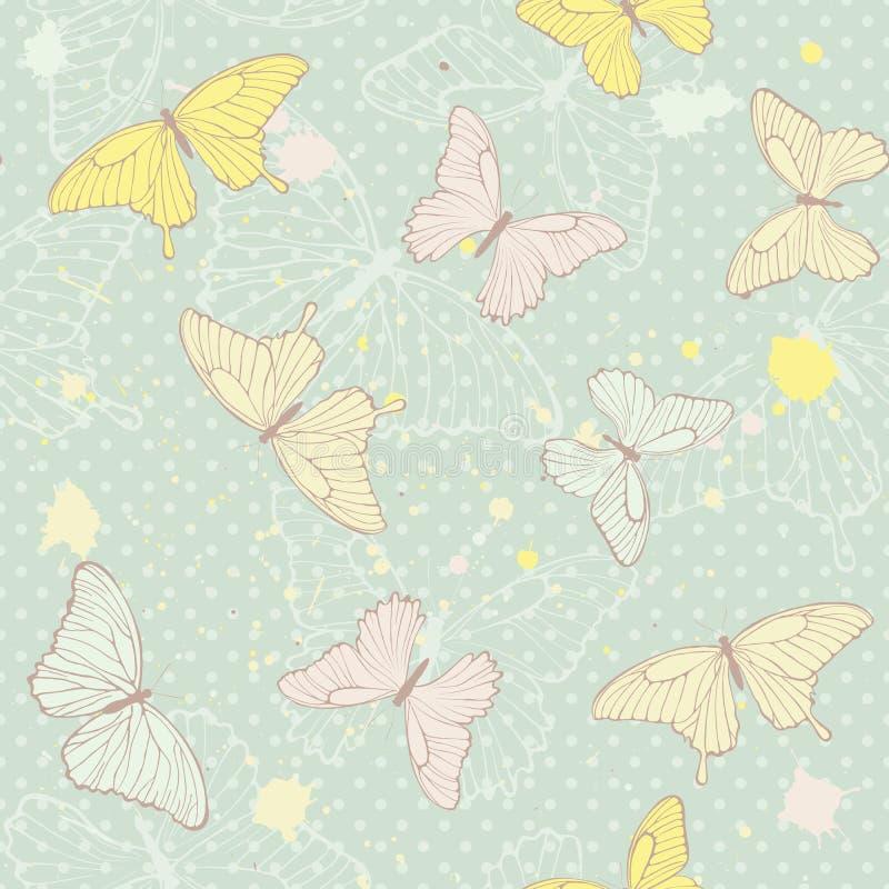 Gevoelig naadloos patroon met vlinders royalty-vrije illustratie