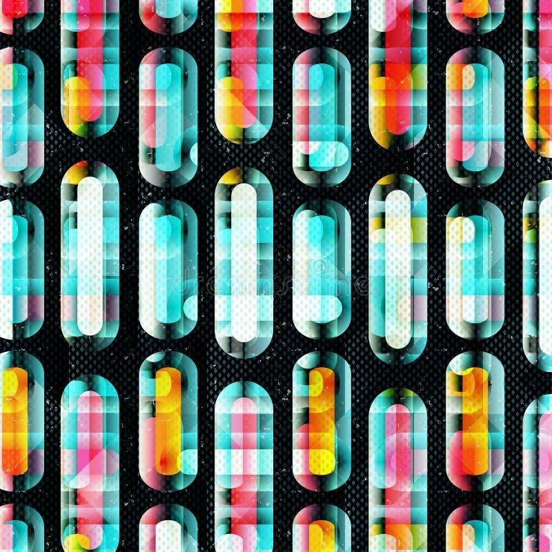 Gevoelige abstracte geometrische achtergrond gekleurde cirkels en lijnen Grungeeffect Illustratie royalty-vrije illustratie
