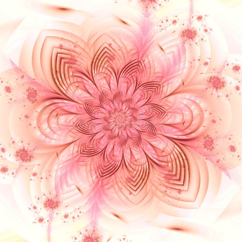 Gevoelige bloemenfractal patroonillustratie stock illustratie