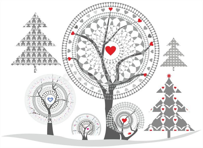 Gevoelige bomen stock illustratie