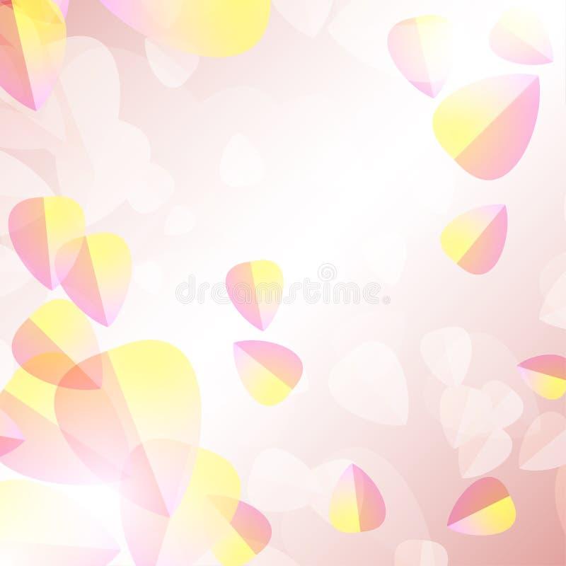 Gevoelige doorzichtige bloemblaadjes op een vage achtergrond voor een romantisch ontwerp stock illustratie