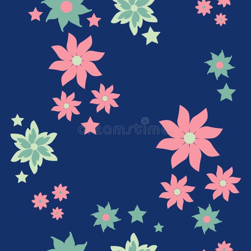 Gevoelige pastelkleuren op blauwe naadloze achtergrond stock illustratie