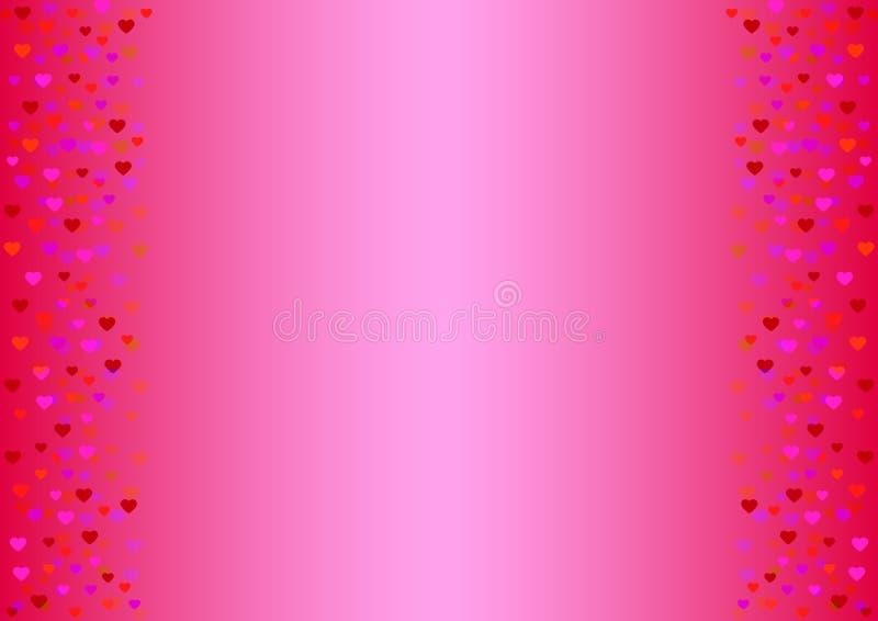gevoelige roze achtergrond met harten in schaduwen van rood royalty-vrije illustratie