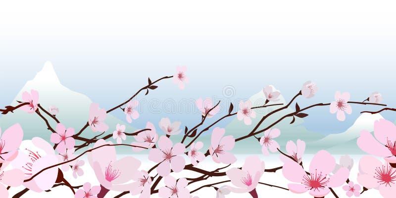 Gevoelige roze de lentebloesem vector illustratie