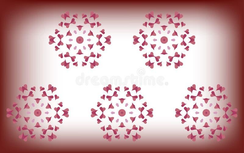 Gevoelige roze harten op een vage witte achtergrond vector illustratie