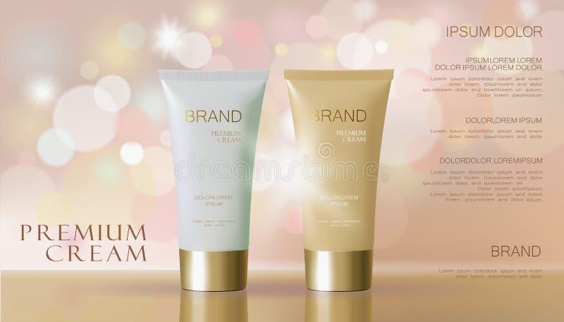 Gevoelige roze kosmetische advertentie Het beige witte van de het maskerbuis van de gezichtsroom vage model van het de bezinnings stock illustratie