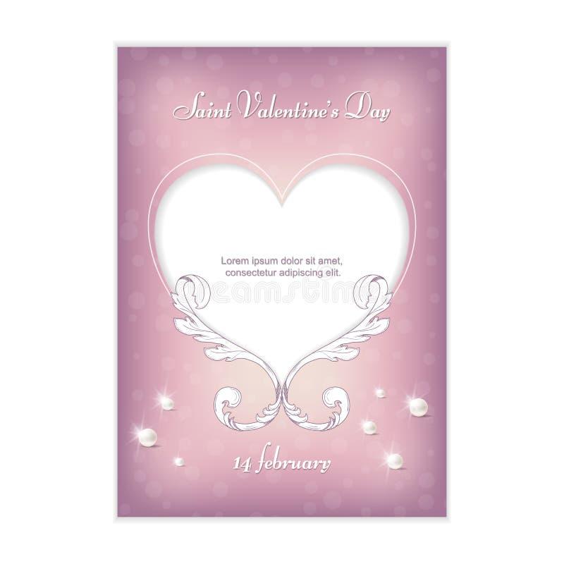 Gevoelige roze verticale prentbriefkaar voor uitnodiging voor de Dag van Valentine ` s op 14 Februari Ornament in uitstekende sti stock afbeelding