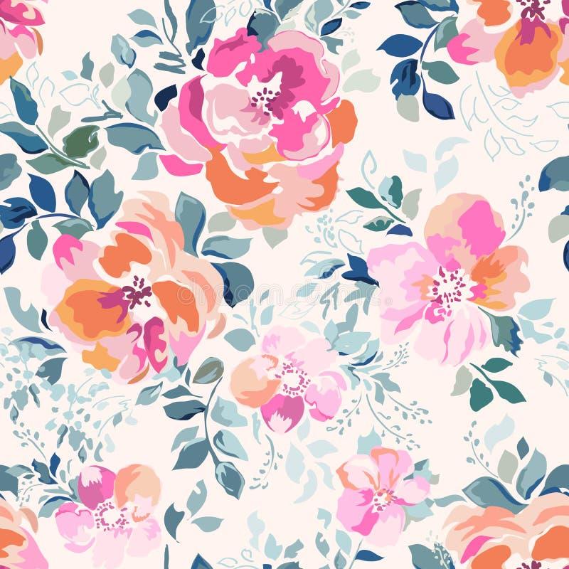 Gevoelige roze waterverf zoals roze druk - naadloze achtergrond stock illustratie