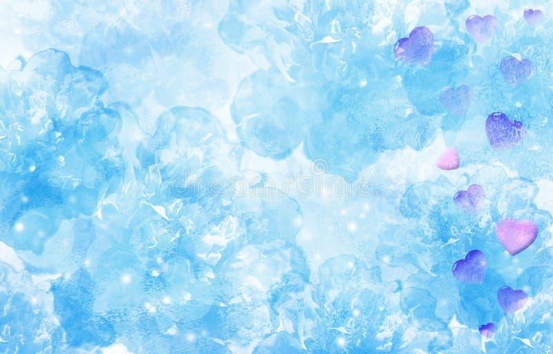 Gevoelige turkooise blauwe achtergrond met roze harten De dag van de valentijnskaart `s royalty-vrije stock afbeelding