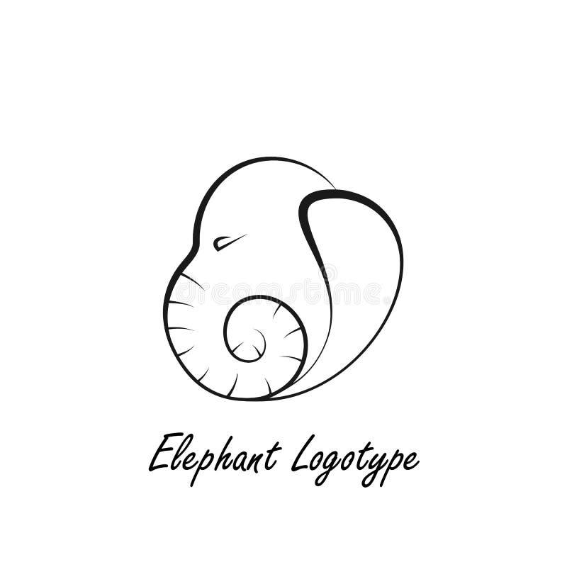 Gevoerde Logotype die als Olifantenhoofd wordt gemaakt royalty-vrije illustratie