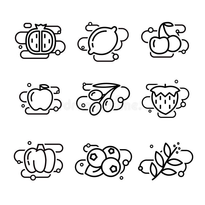 Gevoerde vruchten en Groenten vector illustratie