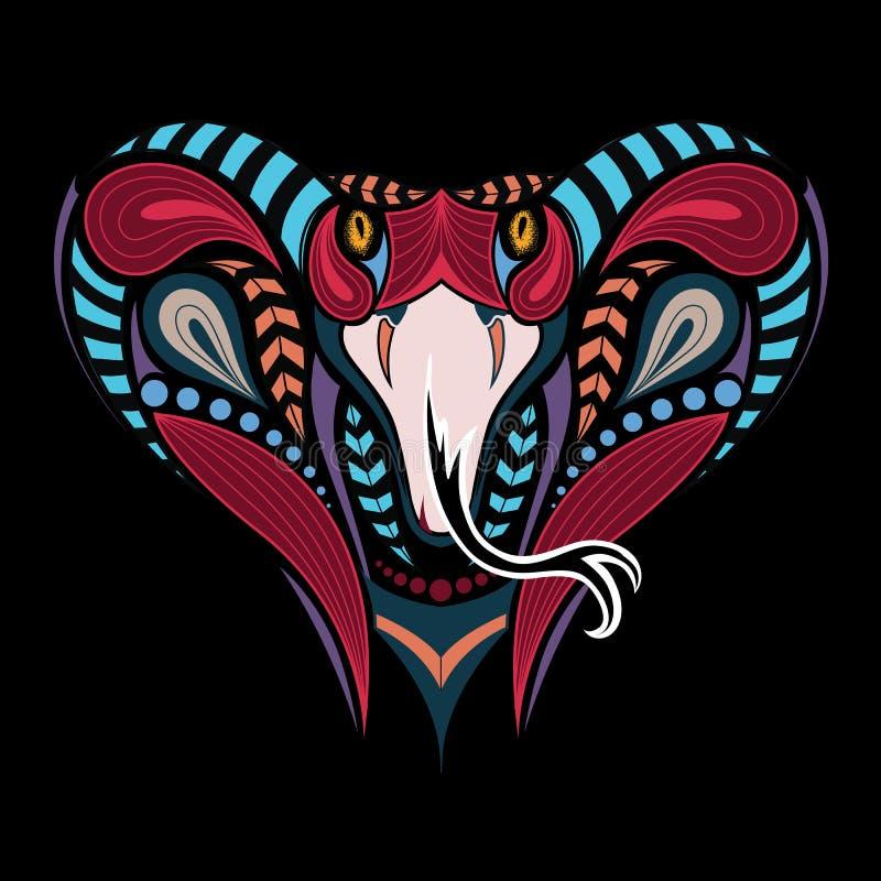 Gevormd gekleurd hoofd van de Koning Cobra Afrikaans, Indisch tatoegeringsontwerp Het kan voor ontwerp van een t-shirt worden geb stock illustratie