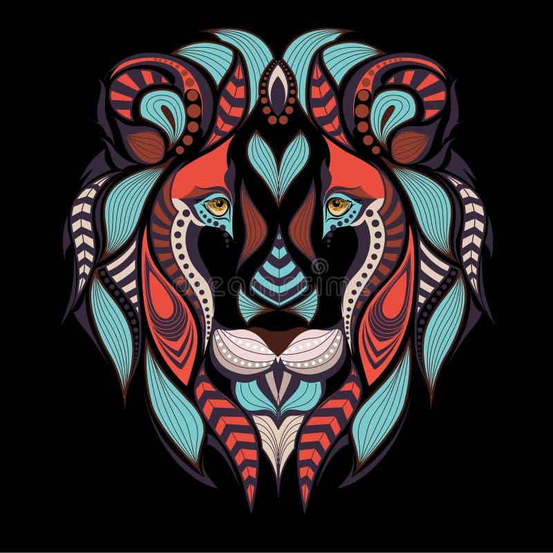 Gevormd gekleurd hoofd van de leeuw Afrikaans, Indisch tatoegeringsontwerp stock illustratie