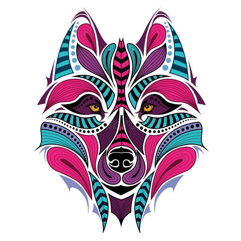Gevormd gekleurd hoofd van de wolf Afrikaans/Indisch/totem/tatoegeringsontwerp royalty-vrije illustratie