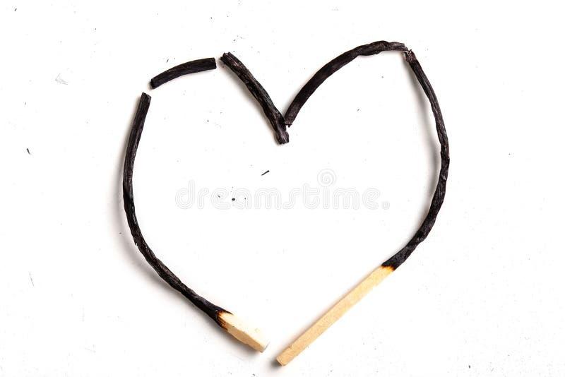 Gevormd hart matchsticks, gebrand royalty-vrije stock foto's