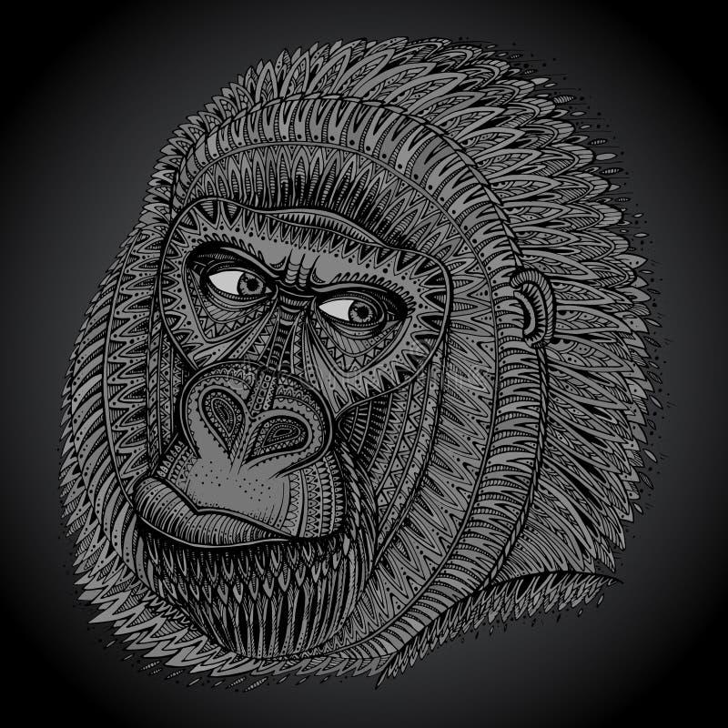 Gevormd hoofd van de gorilla in grafische stijl stock illustratie
