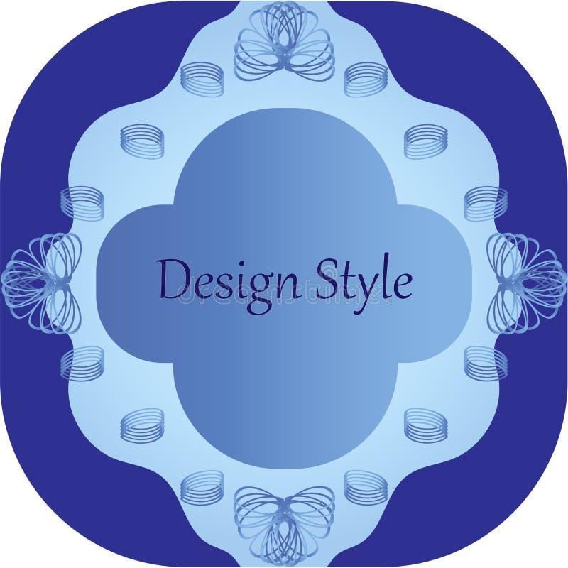 Gevormd kader met verdraaide elementen in blauwe tonen stock afbeelding