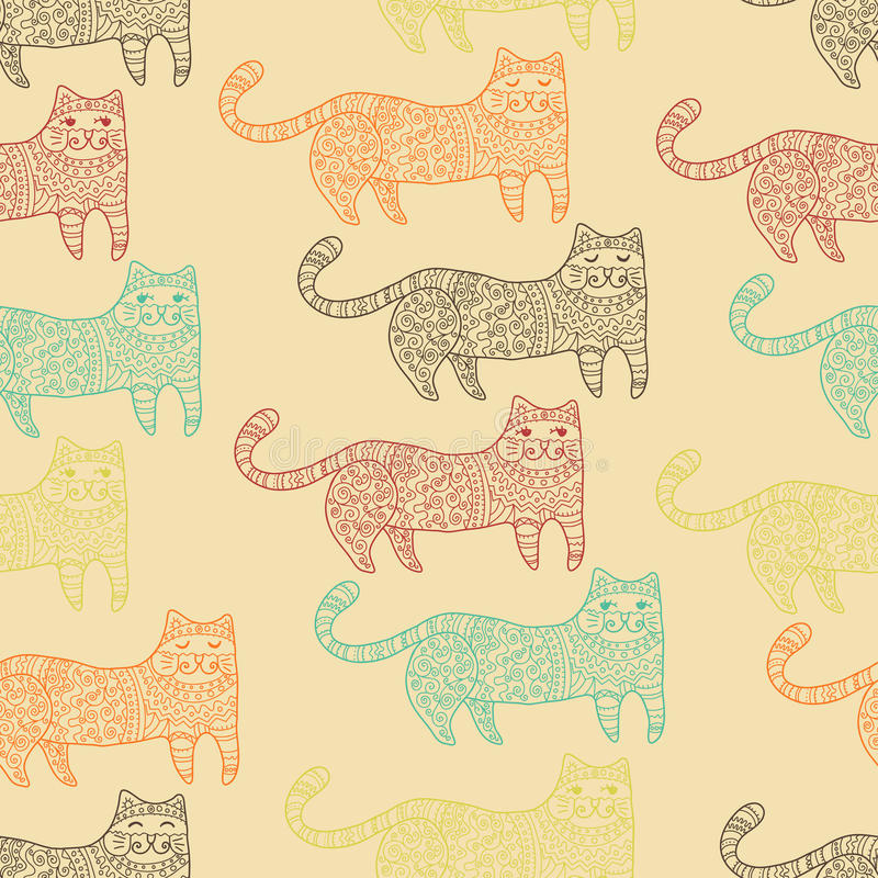 Gevormd katten naadloos patroon vector illustratie