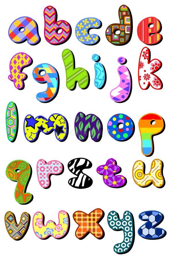 Gevormd kleine lettersalfabet vector illustratie
