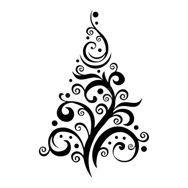 Gevormd silhouet van een Kerstboomzwarte op witte achtergrond stock illustratie