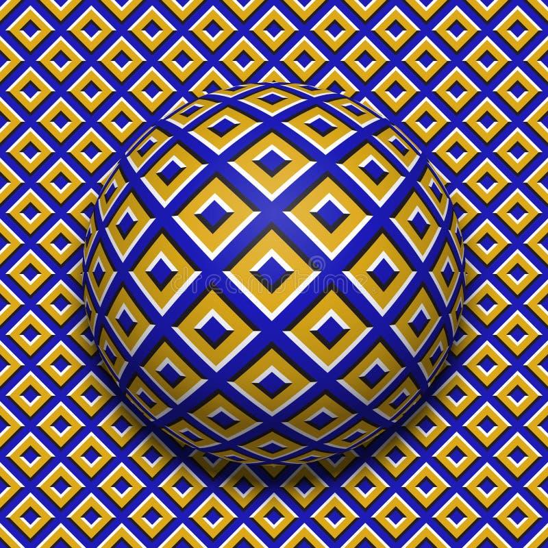 Gevormde bal die langs dezelfde oppervlakte rollen Abstracte vectoroptische illusieillustratie Motie naadloos patroon royalty-vrije illustratie