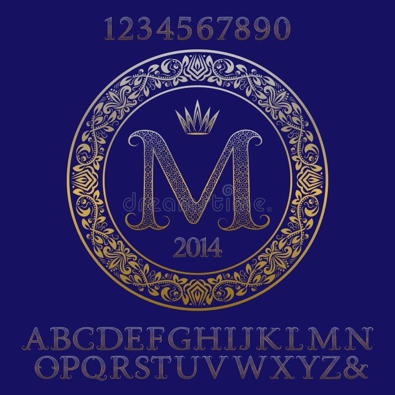 Gevormde gouden letters en getallen met aanvankelijk monogram royalty-vrije illustratie