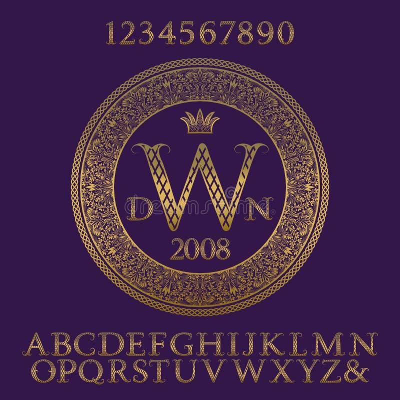 Gevormde gouden letters en getallen met aanvankelijk monogram Elegante gevormde doopvont en elementenuitrusting voor embleemontwe royalty-vrije illustratie