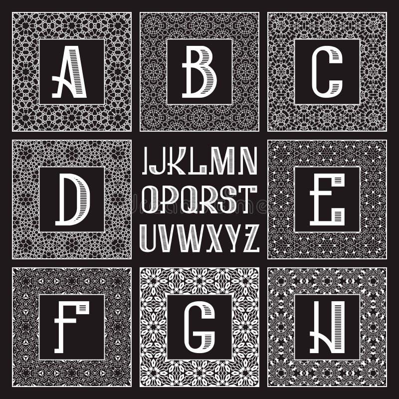 Gevormde monogramuitrusting Witte brieven en sier vierkante kaders voor het creëren van aanvankelijk embleem in uitstekende ooste stock illustratie