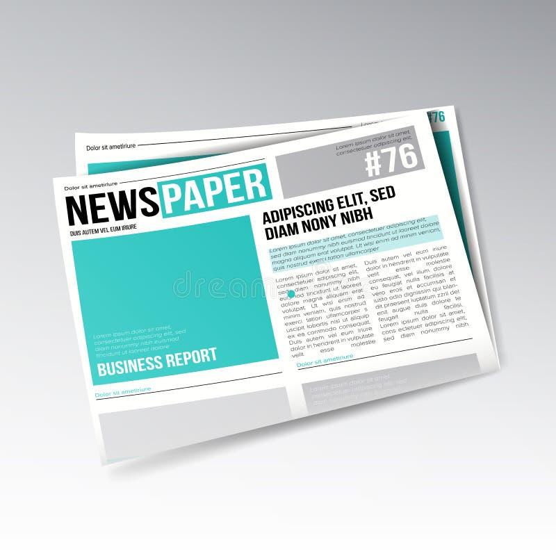 Gevouwen Bedrijfskrantenvector Beelden, Artikelen, Bedrijfsinformatie Het dagelijkse Ontwerp van het Krantendagboek Illustratie vector illustratie