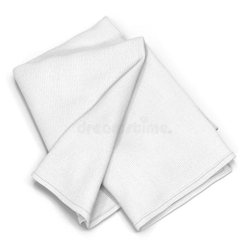 Gevouwen die badhanddoek op wit wordt geïsoleerd 3D Illustratie vector illustratie