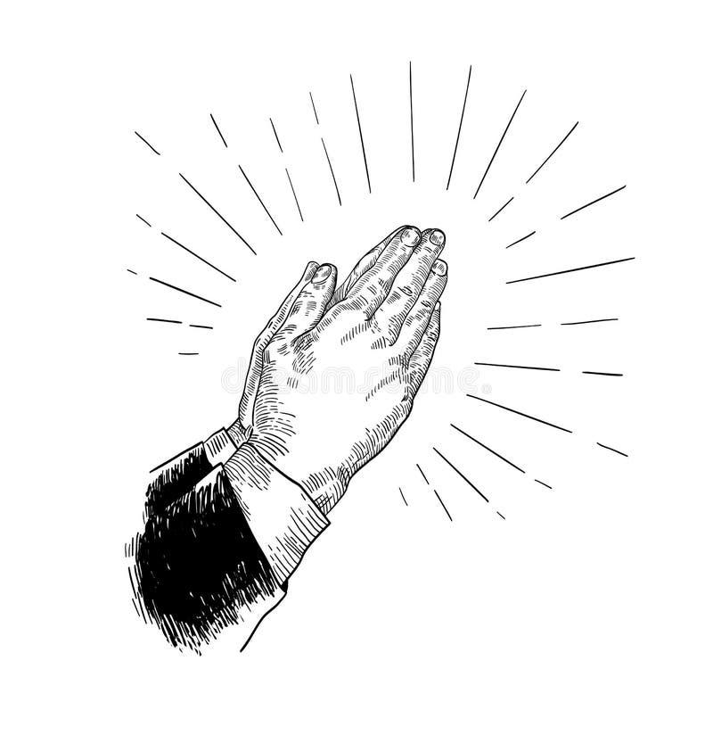 Gevouwen die het bidden handen met zwarte contourlijnen op witte achtergrond worden getrokken Mooie retro tekening van godsdienst vector illustratie