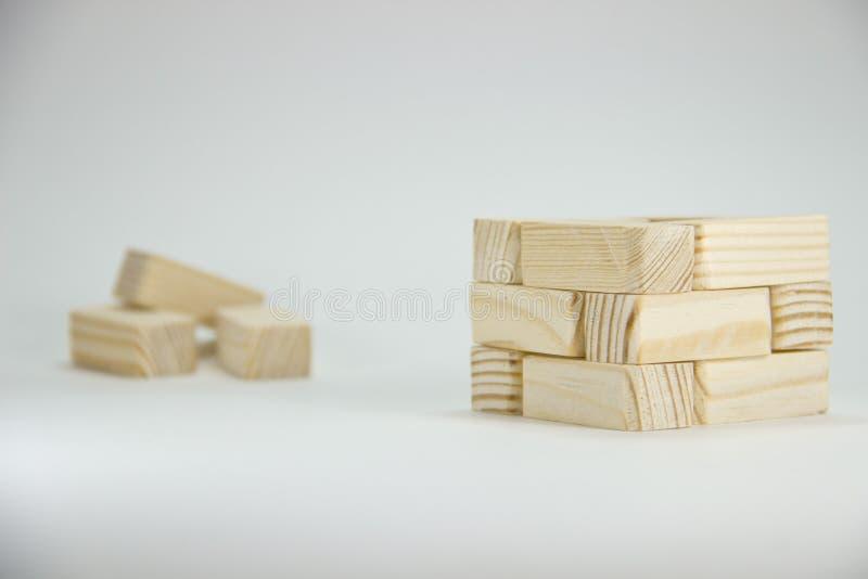 Gevouwen kleine bakstenen van hout Creatieve foto royalty-vrije stock foto