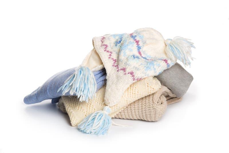Gevouwen sweaterpatroon op witte achtergrond stock afbeelding
