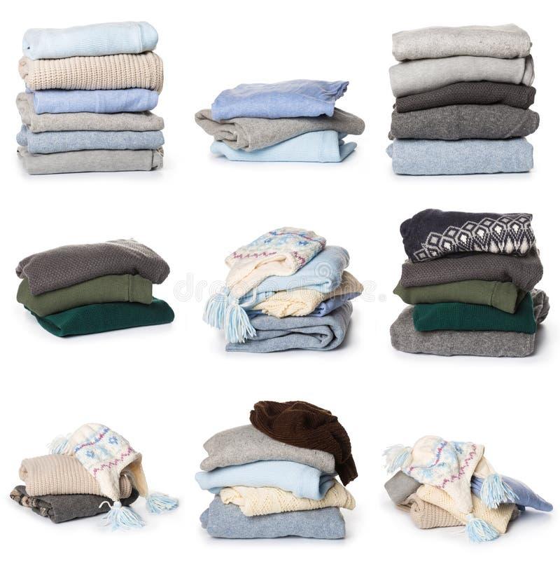 Gevouwen sweaterpatroon op witte achtergrond royalty-vrije stock afbeeldingen