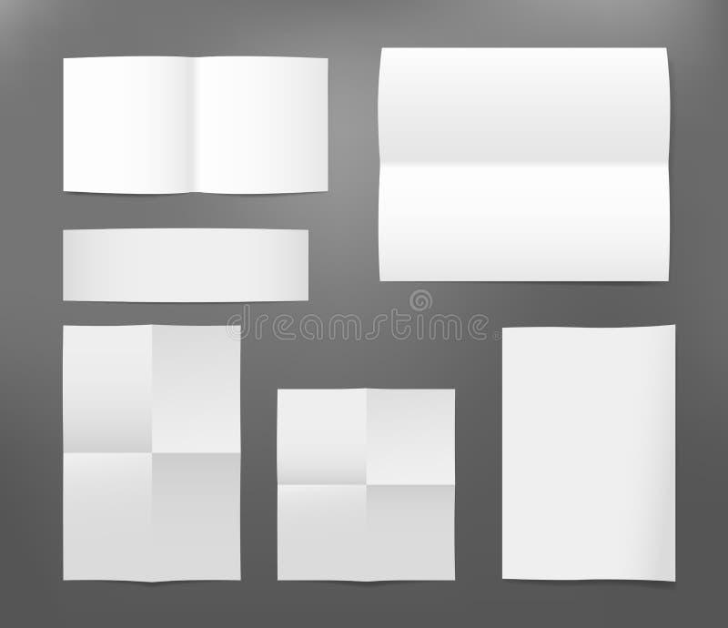 Gevouwen Witboekvlieger, brief, brochure, pamflet met schaduw op donkere grijze achtergrond vector illustratie