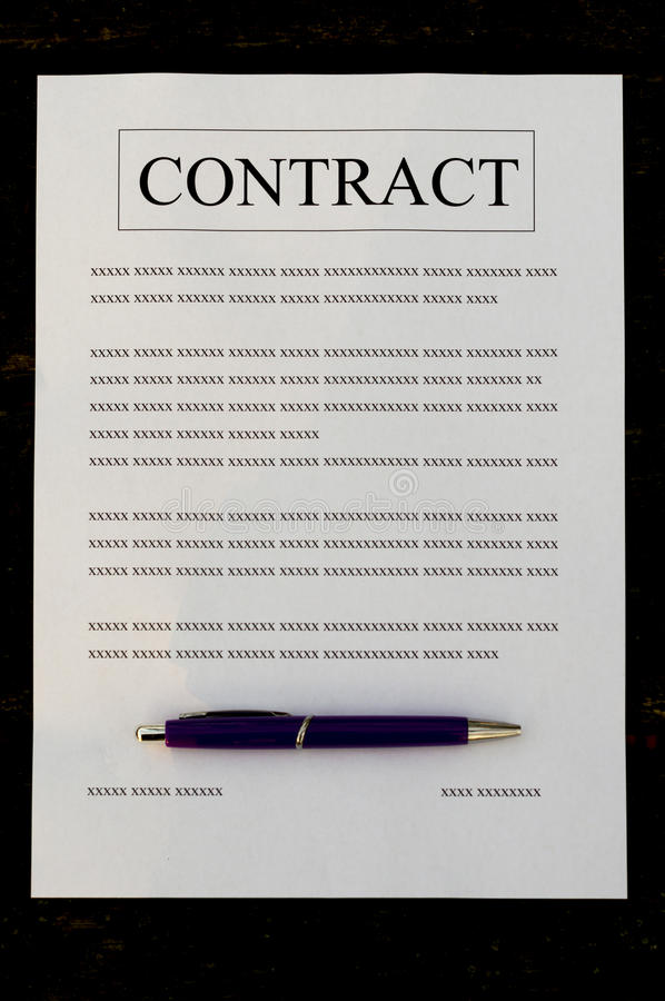 Gevuld document contract stock fotografie