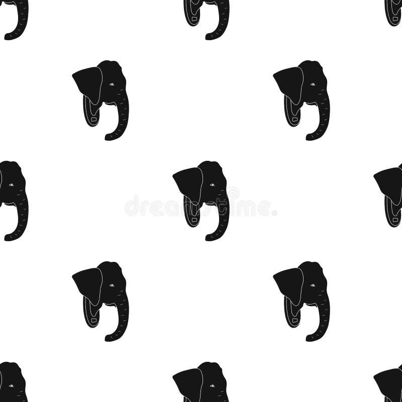 Gevuld olifantshoofd Afrikaans safari enig pictogram in het zwarte Web van de de voorraadillustratie van het stijl vectorsymbool royalty-vrije illustratie