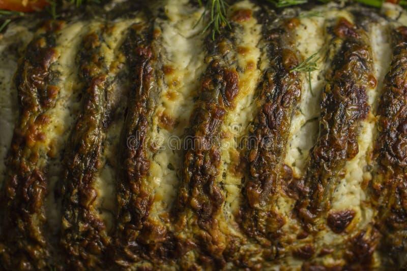 Gevulde die karper, met groenten wordt verfraaid reeks vectorschetsen royalty-vrije stock fotografie