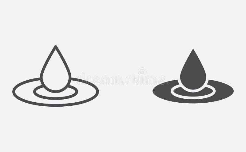 Gevulde waterdaling en het tekensymbool van het overzichts vectorpictogram vector illustratie