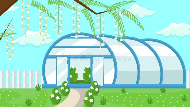 Gewächshaus Garten-in der flachen Vektor-Illustration stock abbildung