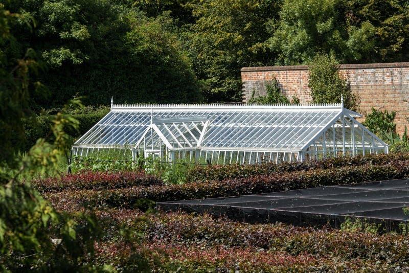 Gewächshausgartenbau Englischer Landgarten, der als Feldbett bewirtschaftet lizenzfreies stockfoto