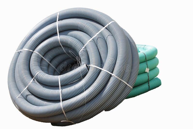 Gewölbte Kunststoffrohre benutzt für die untertägigen elektrischen Linien (lokalisiert) lizenzfreie stockfotos
