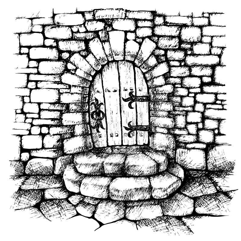 Gewölbte Tür in einer Steinwand, scatch stock abbildung