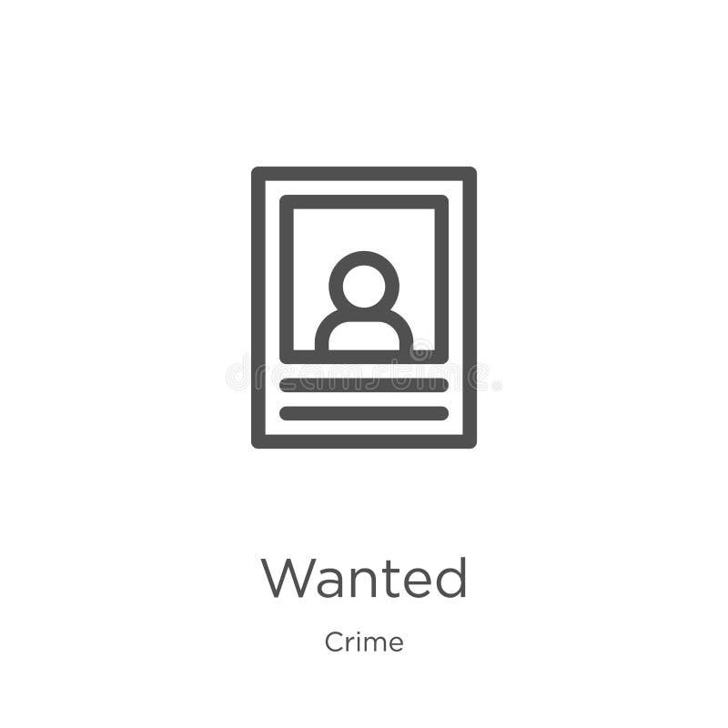 gewünschter Ikonenvektor von der Verbrechensammlung Dünne Linie wünschte Entwurfsikonen-Vektorillustration Entwurf, dünne Linie w lizenzfreie abbildung