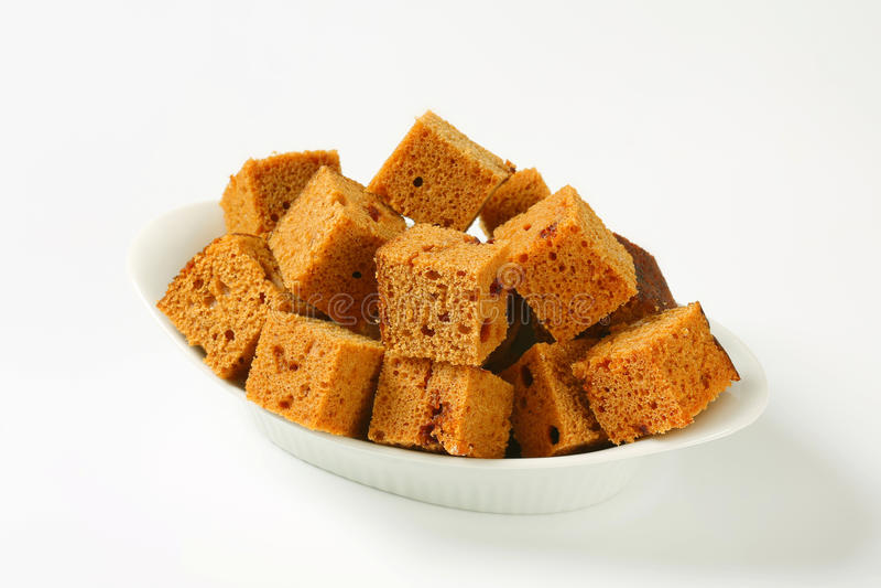 Gewürfelter Lebkuchenkuchen stockfotos