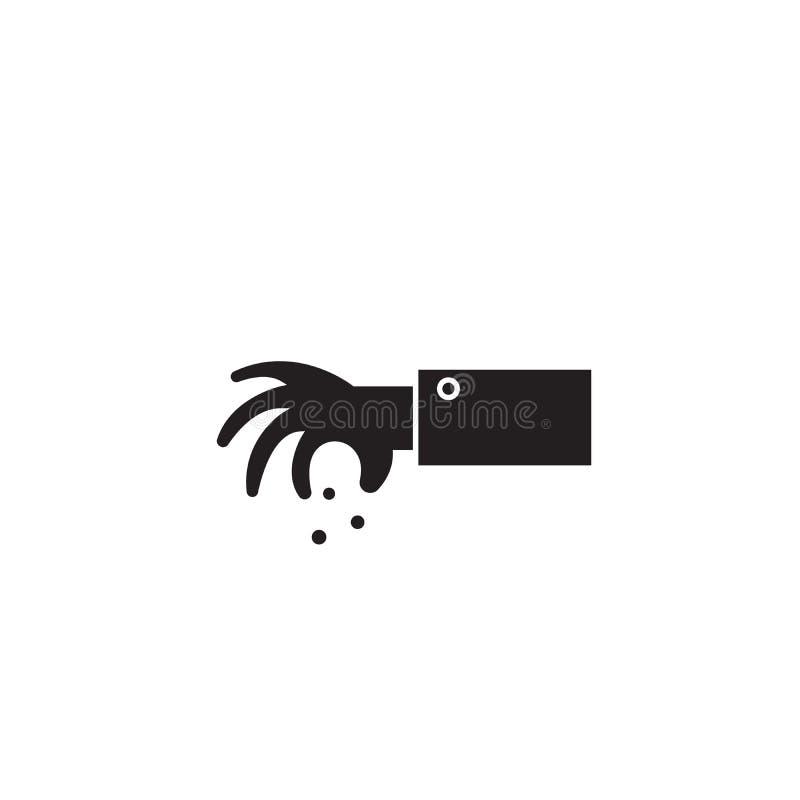 Gewürz mit Vektor-Konzeptikone der Gewürze schwarzer Gewürz mit flacher Illustration der Gewürze, Zeichen stock abbildung